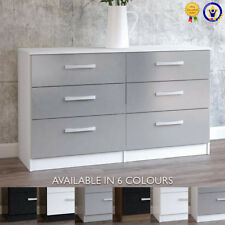 Lynx 6 Drawer Chest Sideboard Gloss Black Grey White Walnut Drawers Cabinet