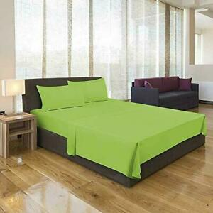 Solid Uni Microfibre Bed Sheets Flat Sheet With Cushion Cover Light Green Color