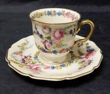 Rosenthal Ivory Linnie Lee Teacup & Saucer, Cream w Pink Roses Bavaria 2 oz