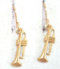 GORGEOUS 14K GOLD FILLED  PETITE TRUMPET MUSIC ELONGATED DANGLE EARRINGS