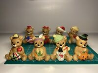 1980s Vintage HOMCO Porcelain Calendar Bear Figurines - Series #1413 LOT OF 8