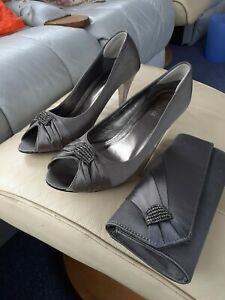 Dark grey satin heels size 7 and clutch bag (used once) ideal Mother of bride