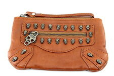 THOMAS WYLDE Brown Leather Wuth Skuls Wristlet