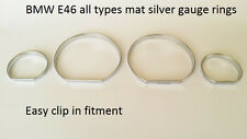 NEW BMW E46 gauge rings for instrument cluster matt silver satiniert tachoringe