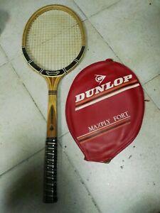 raqueta de tenis de madera antigua vintage dunlop maxply fort nueva con funda