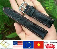Black Genuine Crocodile Alligator Skin Leather Watch Strap Band Men 20mm 22mm 24