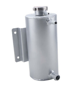 Universal Aluminum Radiator Coolant Overflow Expansion Header Water Tank Silver