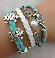 NEW Infinity Turtle Angel Wings Friendship Leather Charm Bracelet Plated Silver