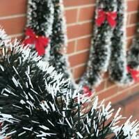 2m Christmas Tinsel Garland Luscious Xmas Snow Tips Holly Dark Green&White