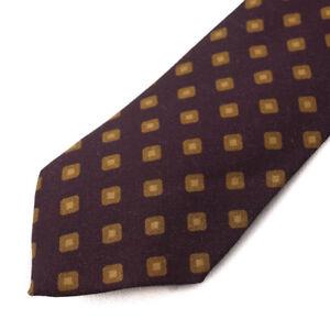 NWT $295 CESARE ATTOLINI Eggplant Purple and Gold Medallion Print Wool Tie
