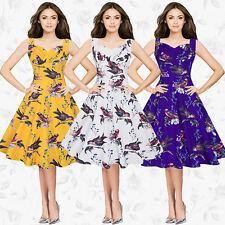 Womens Retro Vintage Ladies Print Swing Skater Evening Party Dress Plus Size