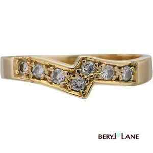 18ct Yellow Gold Fitted DIAMOND WEDDING BAND Solitaire Enhancer Ring, Sz L/6
