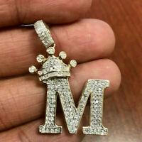 "1 Ct Diamond Round Cut Initial ""M"" King Crown Pendant 14k Yellow Gold Finish"