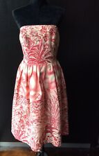 DAVID MEISTER PINK & WHITE COTTON STRAPLESS DRESS SIZE US 10/AU14