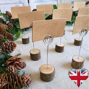 10Pcs Wooden Photo Card Note Memo Table Holder Clip Card Holders Name Stands UK
