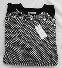 LADIES MARKS AND SPENCER PER UNA BLACK MIX PATTERNED LONG SLEEVE JUMPER SIZE 16