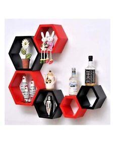 Hexagon wall shelf, set of 6 hexagon wall shelf (Red & Black)