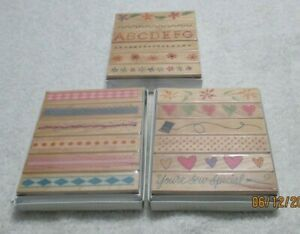 3 Sets of 2005 Hero Arts Rubber Mounted Wood Stamp Sets Borders Flowers Shapes