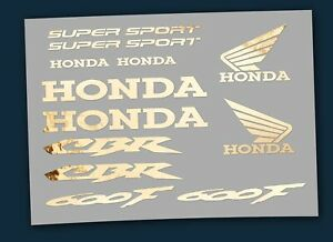 Logo-Set 12 Teilig - Aufkleber HONDA CBR 600 F - edles Design messing poliert