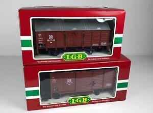51: LGB 46353 + 48110, 2 DR-Güterwagen, OVP, NEU!
