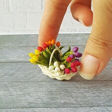 Dollhouse Miniatures Clay Flower Colorful Tulip in Rattan Basket Decoration Set