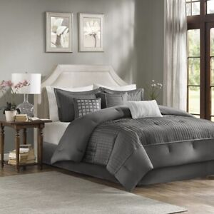 Luxury 7pc Grey Small Pleatings Comforter Set AND Decorative Pillows