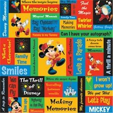 "2 Sheets 12""x12"" Disney Mickey Mouse Phrases Scrapbook Paper"