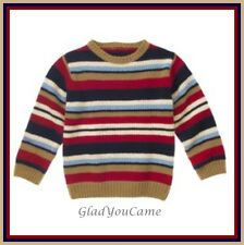 NWT Gymboree M 7-8 Crew Striped Pullover Sweater Navy Blue Brown Holiday Aviator