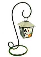 Hanging Metal Lantern Candle Holder Halloween Luminary Cage Black Scroll Stand