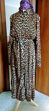 H&M Animal Print Belted Maxi dress button through D NWT Size 10