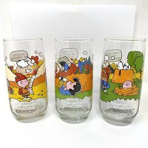 Charlie Brown Camp Snoopy McDonalds Glasses Set of 3 Vintage Peanuts 1983