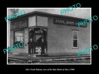 OLD LARGE HISTORIC PHOTO OF ALICE NORTH DAKOTA, THE ALICE STATE BANK c1900