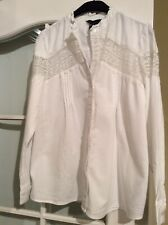 Newlook Size 10 White Shirt Blouse Longsleeve Top Casual Lace Cotton Summer