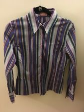 Thomas Pink Collared Striped Purple & Blue Button Down Shirt, Size US 10, EUR 40