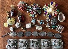 Vintage Jewelry Lot Parts Repairs Crafts Deco Mid Century Retro ~ Mix