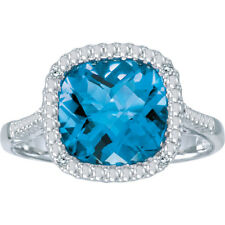 14k White Gold Cushion Blue Topaz and Diamond Ring (Size 8.5)