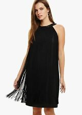 Phase Eight callinda chèque A-line Robe Noir Taille UK18 RRP89