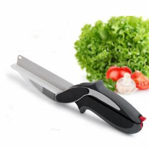 2 in 1 CUTTER knife cutting board scissorcurved scissor smart tool as seen on TV