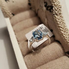 Beautiful Swiss Blue Topaz Solitaire Ring with accents Set In Sterling Silver