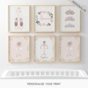 Personalised Ballerina Little Girl Princess Wall Art Nursery Prints Posters Pink