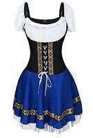 German Beer Girl Costume Dress Bar Maid fo Bavarian Wench Oktoberfest (Blu/Blk)