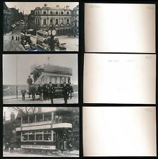 BIRMINGHAM + WALSALL TRAMS + STREETS 3 PHOTOS c1920 SOME CLEAR FACES