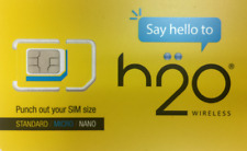 H2O Sim Card (At&T Network) $20 - $60 Plan 1st month Include