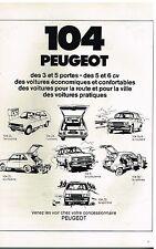 Publicité Advertising 1979 Les 104 Peugeot