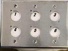 """Leviton Stainless Steel Wall Plate Triple Gang, With 6 Neutrik """"D"""" Holes"""