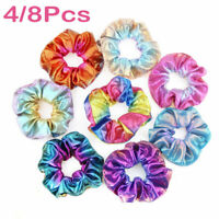 Women Shiny Metallic Hair Scrunchies Ponytail Holder Elastic Ties Bands Girls Vv