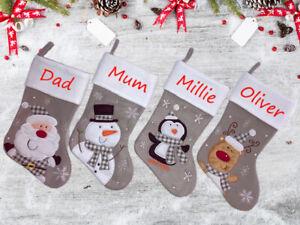 Personalised Embroidered Luxury Xmas Stocking Santa Sack Bag Christmas Gift