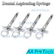 4 Dental Anesthetic Syringes Self Aspirating 18ml Stainless Steel