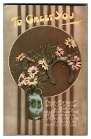 Antique colour printed postcard greetings card To Greet You vase of flowers