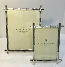 """2 Pottery Barn Silver Bamboo Picture Frames 8x10"""" & 5x7"""" Easel Style"""